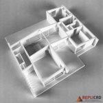 3D maquette in plastic met een los dak van een villa