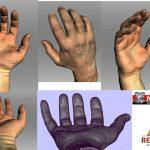 De gescande hand met textures en detail van de triangles
