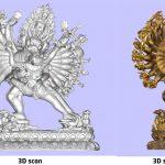 3D scan van een godenbeeld gemaakt in het depot van het Wereldmuseum.Copyright foto Frederic Dehaen.