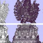 Details van de 3D scan van een godenbeeld gemaakt in het depot van het Wereldmuseum.Copyright foto Frederic Dehaen.