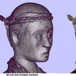 Details van de 3D scan van een voodoobeeld gemaakt in het depot van het Wereldmuseum.Copyright foto Eric Hesmerg.