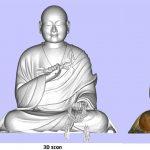 3D scan van een portretbeeld van boeddha gemaakt in het depot van het Wereldmuseum.Copyright foto Frederic Dehaen.