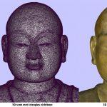 Details van de 3D scan van een portretbeeld van boeddha gemaakt in het depot van het Wereldmuseum.Copyright foto Frederic Dehaen.